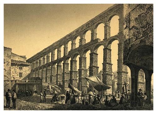 035-Acueducto de Segovia, desde la Plaza del Azoguejo (1865) - Parcerisa, F. J.Biblioteca digital de Castilla y León