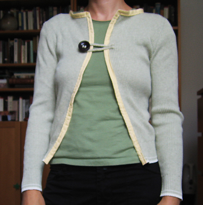 Sweater to cardigan wardrobe refashion