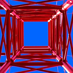 The red tower (horstgeorg) Tags: blue red sky abstract tower art construction thebestbravo flickrsbest superhearts