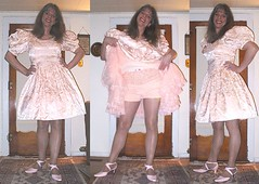 sissy dress trio (barbaraannewhitmore) Tags: pink vintage ruffles ribbons shoes shiny puff transgender sissy romantic bouffant transexual petticoat sheer transvsetite