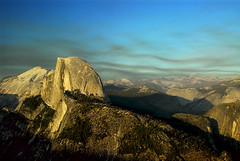Smoke Behind Half Dome (Nick  Carlson) Tags: pictures california sunset forest landscape photography photo photos pics smoke carlson nick picture pic yosemite granite halfdome yosemitenationalpark glacierpoint glacialvalley diamondclassphotographer nickcarlson truelifeimages glacialcarved nickcarlsonphotography