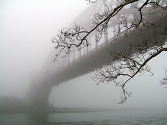 Hellgate  Bridge in Fog,       ASTORIA - Hell Gate Bridge (astoria4u) Tags: park new york nyc railroad bridge bw nature fog contrast gate branch sydney railway australia longisland explore queens gustav mostinteresting astoria lic lionel railroadbridge hellsgate soe span freight hells hellgatebridge hellgate queensbridge lindenthal littlestories suspention crno newyorkbridge golddragon photology goldmedalwinner anawesomeshot impressedbeauty superaplus aplusphoto megashot amazingamateur proudshopper goldstaraward proudexcellence amazingexcellence bamazingexcellenceb picswithsoul mastersoflifegallery megatopofthefog saariysqualitypictures