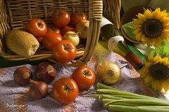 Still Life with Basket (henx fotojam) Tags: life red green tomato bread photography still gallery basket fine towel the delange of bachspicsgallery