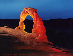 "Delicate Arch - night exposure (IronRodArt - Royce Bair (""Star Shooter"")) Tags: park lighting lightpainting night photography utah exposure arch arches national paintingwithlight delicate archesnationalpark artifical delicatearch nightwork flashbulb blueribbonwinner flashbulbs"