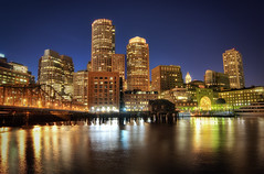Boston Downtown at Night (Werner Kunz) Tags: street old city longexposure urban usa building boston skyline architecture night america photoshop ma lights evening us nikon time massachusetts n