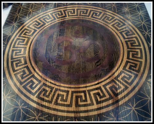 Reclaimed Rustic Industrial Oak Coffee Table / Chabudai (w/ Om, Greek Key, & Sacred Geometry) 2