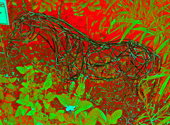 Horse Sculpture (Texas Finn) Tags: flowers red sculpture horse plants green art leaves garden wire copper magical cmwdr