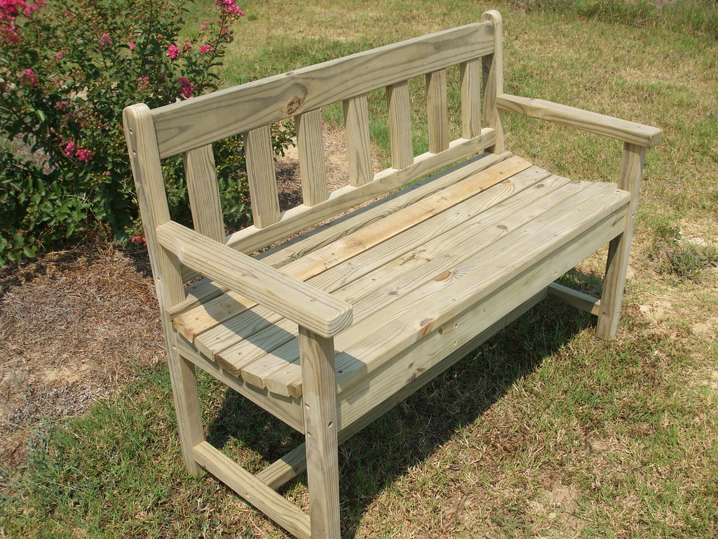 Natural Garden Bench with Slat Back