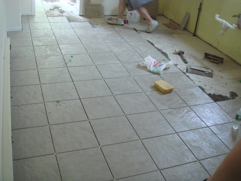 tile goes down