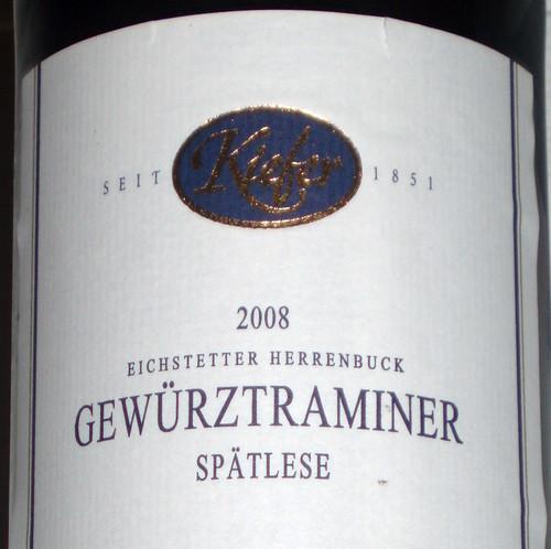 2008 Eichstetter Herrenbruck Gewürztraminer Spätlese, Weingut Friedrich Kiefer Eichstetten am Kaiserstuhl