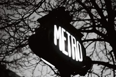 Metro (Airicsson) Tags: street old blue winter light urban blackandwhite bw white black paris france art classic film station seine night vintage noir minolta metro bokeh lumire hiver champs elyses nb 101 hour streetphoto et nuit blanc ilford champselyses flou entre srt101 2010 streetshot srt luminaire blackwhitephotos analogique intemporel