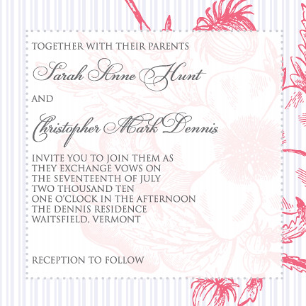 Pink and Gray Vintage Wedding Invitation