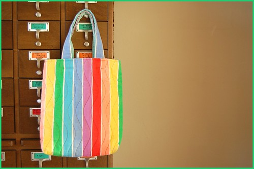 thrifted rainbow bag