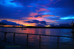 The Day's End (V a n z) Tags: blue sunset sky river boat nikon dusk bangladesh colorart d40