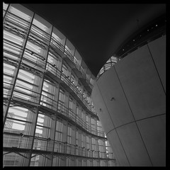 Concrete (gullevek) Tags: blackandwhite building 6x6 film window glass japan metal wall architecture geotagged concrete restaurant tokyo iso400 bronica    ilford sampo   scannedfromnegative ilforddelta400pro epsongtx900 bronicaectl zenzabronicaectl nikkoroc50mmf28 geo:lat=35664839 geo:lon=139726087