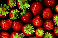 Strawberries (Sharon Mollerus) Tags: red food fruit strawberry berry bravo berries strawberries fresh scan stems supershot 20070830scan011