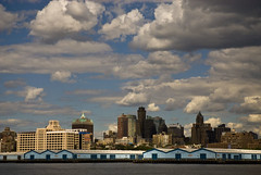 Brooklyn, New York Skyline (jackie weisberg) Tags: city nyc newyorkcity sky urban usa ny newyork building industry architecture brooklyn clouds america buildings harbor industrial skies image unitedstatesofamerica cities cityscapes photograph newyorkstate shipyard northeast redhook nys industries watchtower shipyards williamsburgsavingsbankbuilding thebigapple 718 kingscounty colorimage viewfromgovernorsisland jackieweisberg