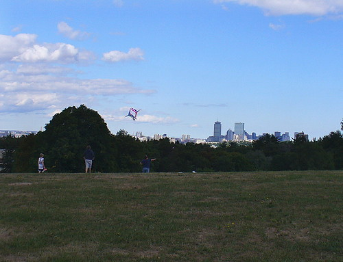 Boston skyline with kite
