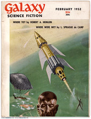 """Galaxy Science Fiction,"" February 1952 cover (markbult) Tags: illustration retro scifi sciencefiction galaxysciencefiction 1952 whereto heinlein pulps retroart robertaheinlein robertheinlein heinleinia"