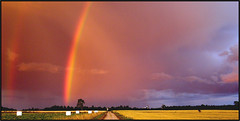 Double Rainbow Over rebro (R A Pyke (SweRon)) Tags: road rainbow sweden farm double rebro land fields gravel olympussp510uz july312007