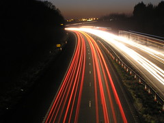 Light trails (mikeplonk) Tags: longexposure red white cars southwales lowlight motorway cardiff headlights m4 taillights lighttrail
