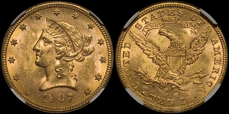 1907-S $10.00 NGC MS63 CAC