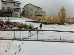 Clare taking Benjamin for snowy walkies