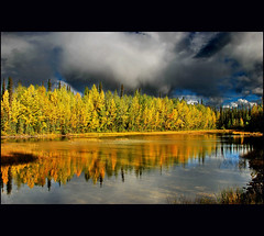 obviously autumn (klaus53) Tags: autumn trees lake canada colors clouds reflections nikon britishcolumbia middleofnowhere mywinners colorphotoaward vanagram blinkagainfrontpage