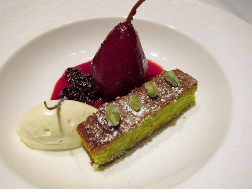 Poached Pear, Pistachio Olive Oil Cake