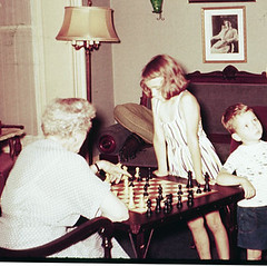 Aunt Harriet letting me beat her at chess, 1955