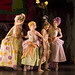 Eve Mutso as the Stepmother, Diana Loosmore and Patricia Hines as the Stepsisters and Claire Robertson as Cinderella in Page's Cinderella. Photograph by Bill Cooper.