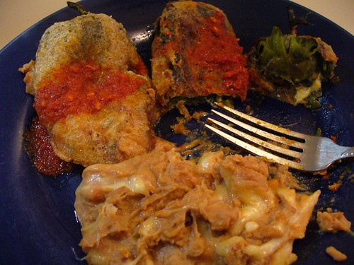 Homemade chile rellenos + refried beans