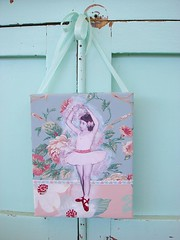 Gift for my cousin on her 60th birthday (Natasha Burns) Tags: pink blue ballet rose collage glitter ballerina paint mixedmedia dogwood redshoes shabbychic vintagewallpaper