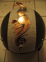 AutoMask Helmet (Marius Mellebye / 276ccm) Tags: silver gold leaf paint drawing helmet drawings copper custom marius 2007 goldleaf custompaint silverleaf mariusmellebye mellebye customhelmet 276ccm automask