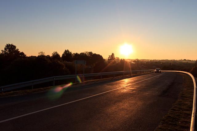 Saulėlydis nuo Rusnės tilto