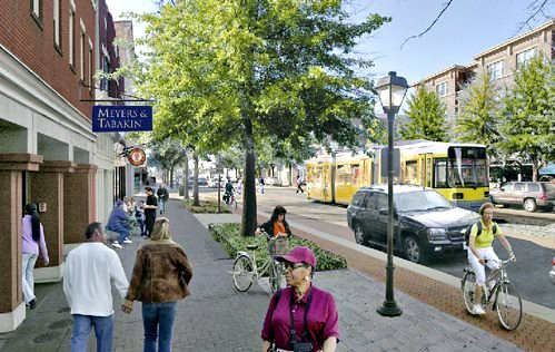 a complete street with green infrastructure, imagined in Portsmouth VA (courtesy of Steve Price, Urban Advantage)