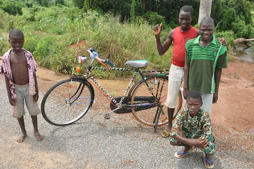 Benin boys with a bike