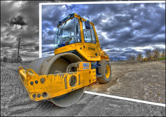 BOMAG (Calvin J.) Tags: construction nikon equipment nikkor heavy hdr outofbounds oob bomag photomatix 16mmfisheye d700