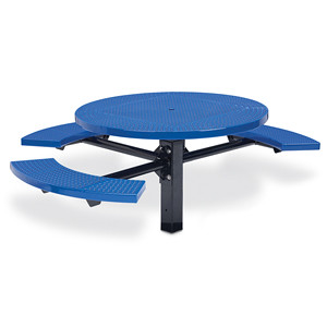"D1193 - 46"" Round ADA Picnic Table with Perforated Surface, 3 Seats and Inground Mount"