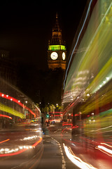 London Night Bus, Whitehall (flatworldsedge) Tags: road longexposure bus london tower clock westminster night traffic great trafalgarsquare dial bigben works whitehall explored yahoo:yourpictures=time2013