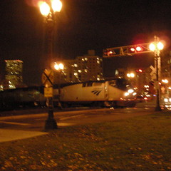 Amtrak at night