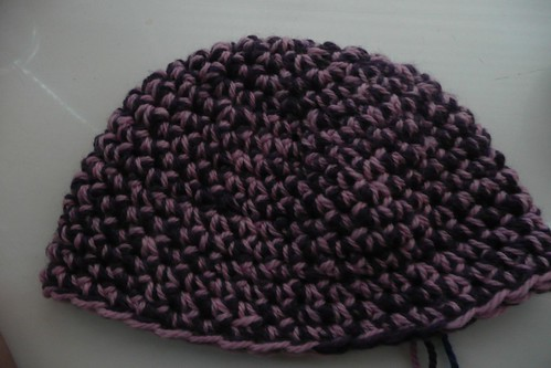 Pink & purple strands beanie in progress