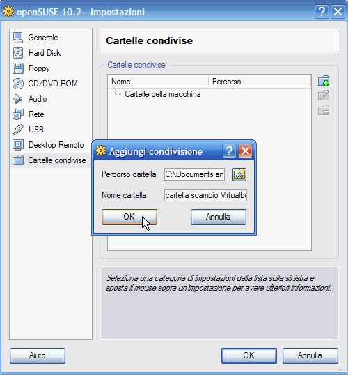 VirtualBox - Cartelle condivise: cartella da condividere selezionata
