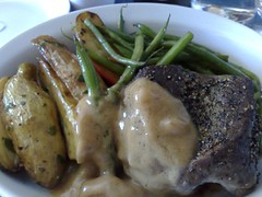 Pan-seared filet mignon with porcini sauce