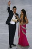 Portuguese soccer star Cristiano Ronaldo, accompanied by actress Bipasha Basu, announces Mexico's Chichen Itza pyramid as one on the new Seven Wonders of the World during the official declaration ceremony Saturday, July 7, 2007 at Luz stadium in Lisbon, Portugal