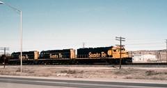 ATSF  SD45-2  5688, 5580 and 5542  Gallup NM  6 Apr 1975  19750406S-3 (Dick Leonhardt) Tags: santafe atsf
