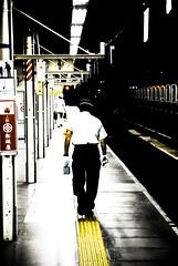 Walk the line (manganite) Tags: people color men lines station japan night contrast digital train point geotagged asian japanese lights tokyo high nikon asia ueno tl candid perspective platform railway  nippon  backside d200 nikkor dslr vanishing nihon eki kanto jobanline supershot 18200mmf3556 utatafeature manganite nikonstunninggallery ueneoeki geo:lat=35715383 geo:lon=139778345 date:year=2006 date:month=july date:day=22