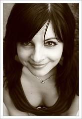 smiling at me (wunderskatz) Tags: portrait bw woman girl face sepia eyes sensitive manikin bwdreams top20femmes wunderskatz