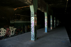 Underneath East New York (Gowanus) Tags: nyc newyorkcity ny newyork abandoned station brooklyn train dark graffiti platform tunnel line trainstation underneath freight eastnewyork broadwayjunction freightline abandonedstation