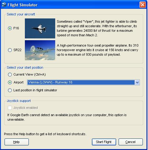 Flugsimulator-Einstellungen